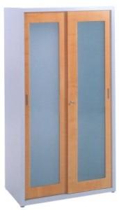 Armário metálico portas correr com aro madeira vidro