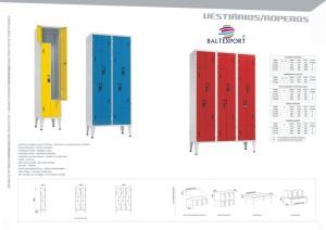 Armários vestiários metálicos com portas em L