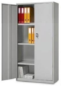 Armário contabilidade metálico portas de bater com fechadura, 3 prateleiras amovíveis.