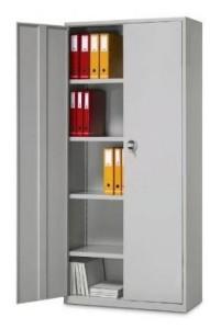 Armário contabilidade metálico portas de bater com fechadura, 4 prateleiras amovíveis.