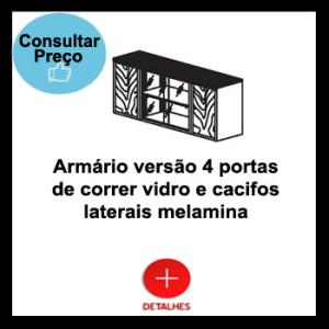 Armário versão 4 portas de correr vidro e cacifos laterais melamina