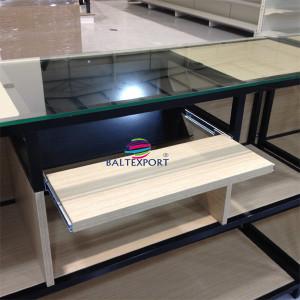 Balcão receção em inox 5metros para 4 monitores com vidro
