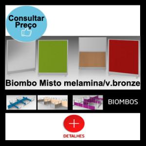 Biombo misto vidro bronze e melamina