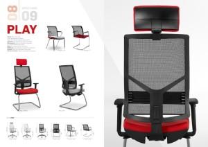 Cadeira Play rodada rede pele sintética Escritório_03