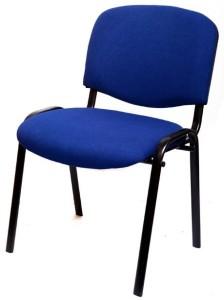 Cadeira fixa 4 pés estofada estrutura tubo espalmado pintura a epoxy assento e costa estofados de qualidade e resistência empilhável