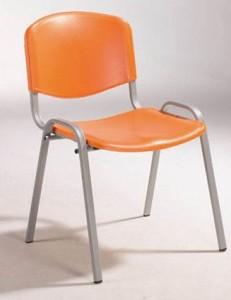 Cadeira de escritório visitante encosto e assento em polipropileno laranja