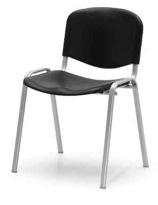 Cadeira de escritório visitante encosto e assento em polipropileno preto