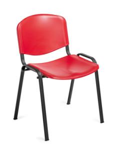 Cadeira de escritório visitante encosto e assento em polipropileno vermelho