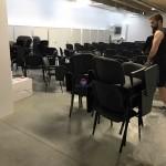 Cadeira formação com palmatória revestida tecido 565
