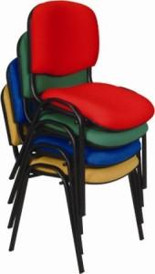 Cadeiras de escritório visitante 4 pés empilhável tecido