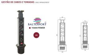 Gestão de cabos e tomadas com entradas USB tower power para aplicar no tampo mesa de escritório ou cozinha