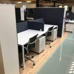 Ilha posto de trabalho 4 lugares e armário portas bater forrado a tecido 573