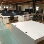 Ilha posto de trabalho 4 lugares e divisor tecido 572