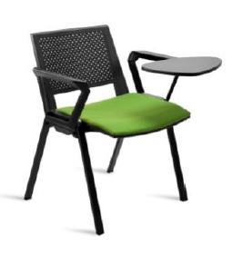 Cadeira Kentra, costa e assento em polipropileno preto – com painel do assento com estofo tecido ou pele sintética, Braços e palmatória NÃO INCLUÍDOS, Par de braços, Braço à unidade, Par de braços com palmatória BKE.205