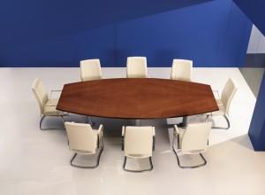 Mesa reunião semi oval melamina cerejeira sala reuniões