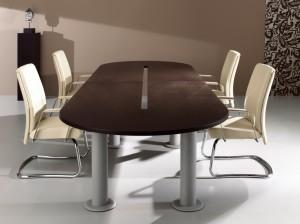 Mesa reunião oval 3000x1300x750mm melamina wengue