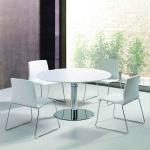 Mesa reunião redonda cromada melamina branca497