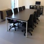 Mesa reunião retangular 3000x1200x750mm branco tampo melamina wengué_460