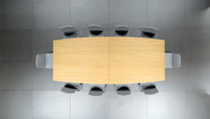 Mesa reunião semi oval 2000x1200x750mm melamina faia
