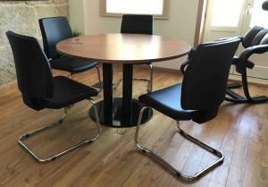 Mesa reuniao redonda 1300x750mm madeira cerejeira mesa sala de reuniões para sala escritório