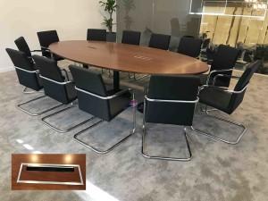 Mesa reuniao semi oval madeira cerejeira 4000x1500x750mm mesa de reuniões para sala escritório mobiliário