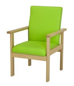 Mobiliário Geriatria Cadeira com apoio de braços reto modelo com assento e encosto estofados cadeira com desenho ergonómico.