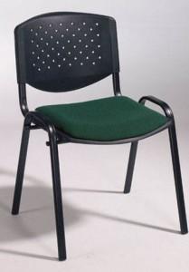 Cadeira Prisma, assento e costa em PP, com painel do assento com estofo, estrutura pintada a preto ou cinza 7035.