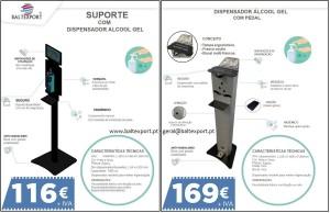 Suporte dispensador de gel desinfetante, Dispensador Vertical Álcool Gel Desinfetante com Pedal