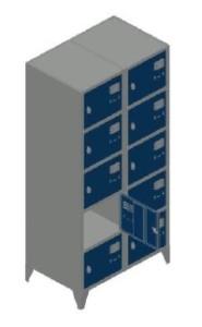 Vestiário duplo 10 cacifos 1900x800x500mm