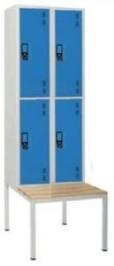 Armário vestiário duplo c/ banco simples 4 cacifos sobrepostos com 1950(A)*600(L)*800mm (P) cinza