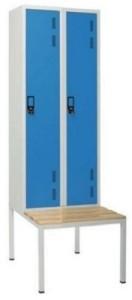 Armário vestiário duplo c/ banco simples 2 portas com 1950(A)*600(L)*800mm (P) cinza