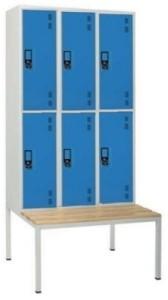 Armário vestiário triplo c/ banco simples 6 cacifos sobrepostos com 1950(A)*900(L)*800mm (P) cinza