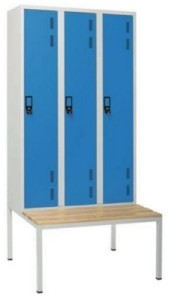 Armário vestiário triplo c/ banco simples 3 portas com 1950(A)*900(L)*800mm (P) cinza