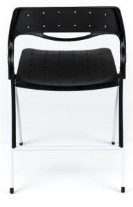 Cadeira Arkua, assento e costa em PP, estrutura rebatível pintada a cinza alumínio ou em cromado.