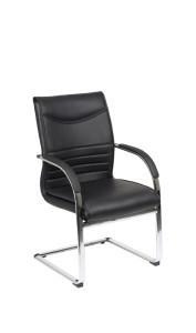 Cadeira Crown, costa média, estrutura de patim cromado com braços BCR.400