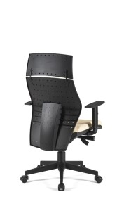 Cadeira Dama costa média com apoio de cabeça, mecanismo sincronizado com possibilidade de bloqueio em 5 posições, costa regulável em altura, base piramidal em nylon BDA.500