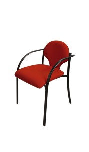 Cadeira Espanha, assento e costa em estofo, estrutura pintada a preto ou cinza 7035, Opção: estrutura pintada a cinza 9006 (+€) BMU.200