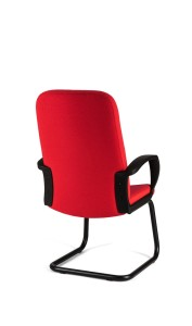 Cadeira Lester, costa média, estrutura de patim pintada a preto,