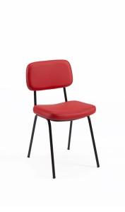 Cadeira Lusa, assento e costa com estofo, estrutura pintada a preto BMU.202