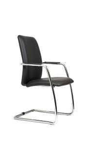 Cadeira Magix, costa alta, estrutura cromada com braços em PP.BMX.400