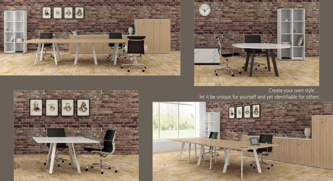 mobiliário de escritório linha Endow mesa reunião reta com 3 pés_25