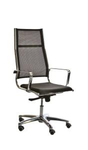 Cadeira Onix costa alta em rede, assento com estofo em Atlantis, mecanismo oscilante com possibilidade de bloqueio em duas posições, base em alumínio BOX.500