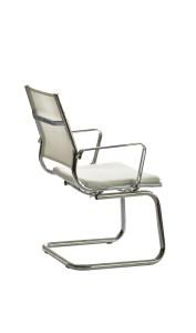 Cadeira Onix costa média em rede, assento com estofo em Atlantis, estrutura cromada BOX.400
