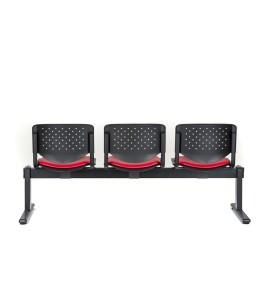 Bancada Prisma 2 lugares, costa em pp, painel no assento com estofo, estrutura pintada a preto.