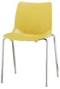 Cadeira Race, estrutura 4 pés cromada, casco em PP. Cores disponíveis: amarelo, cinza, pérola, castanho, violeta, azul, laranja, verde BRA.200