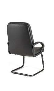 Cadeira Relax, costa média, estrutura de patim pintada a preto BRE.400