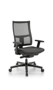 Cadeira Sirius, costa média em rede, assento com estofo, mecanismo sincronizado com possibilidade de bloqueio em cinco posições, com regulação da costa em altura BSI.505