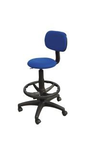 Cadeira Big Stitch, assento e costa com estofo, contacto fixo, sistema de elevação simples, apoio de pés em nylon. Opção: Apoio de pés cromado (+€) BMU.207