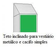 teto inclinado para vestiário metálico e cacifo simples