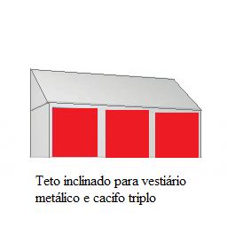 Teto inclinado para vestiário metálico e cacifos